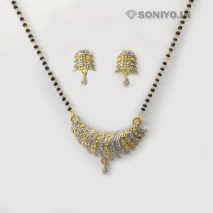Golden and Silver Curvy Mangalsutra Combo - AD