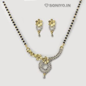 Golden Flowers Mangalsutra and Earring Combo - AD