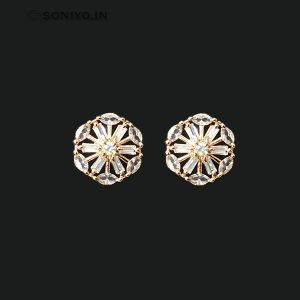 Rose Gold Earring covered with white AD stones