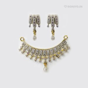Silver Mangalsutra combo covered with AD stones