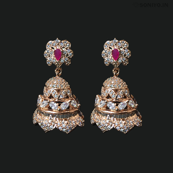 Rose Gold Jhumka covered with White AD stones