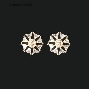 Rose Gold Circle Earrings covered with triangle shaped AD