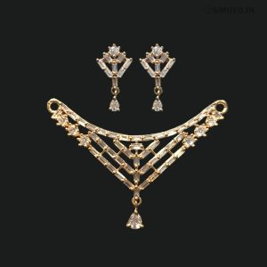 Rose Gold Mangalsutra and Earring Combo - AD