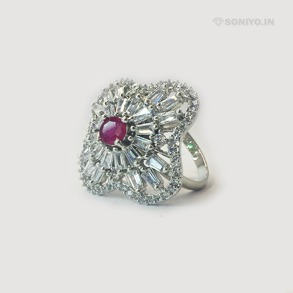 Silver Ring covered with White Stones - AD