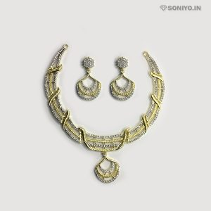 Golden and Silver Curve Design Necklace Combo - AD