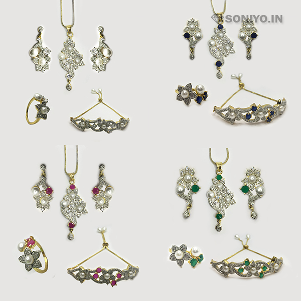 Four in one Flower with Pearl Combo Set - AD