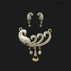 Silver Peacock Mangalsutra Combo with White AD stones