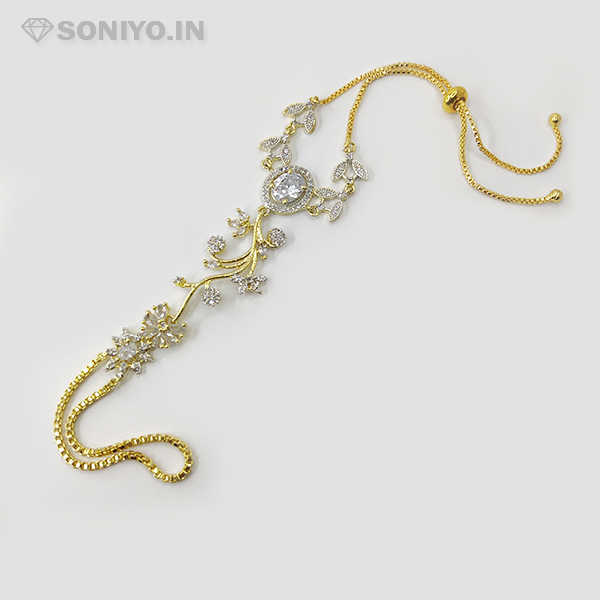 Golden Bracelet with Flower and White Stone