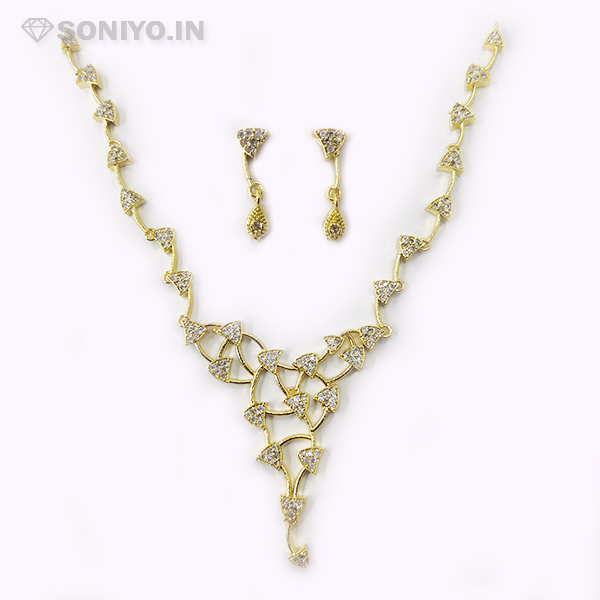 Golden curved Triangle Necklace Combo