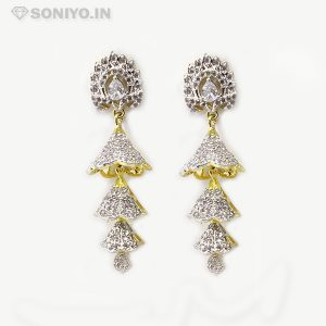 Golden and Silver Cone Earring-American Diamond