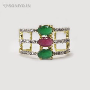 Golden and Silver Ring with stones