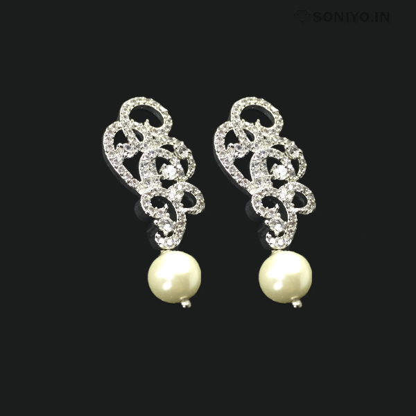 Spiral Design Earrings with Pearl - American Diamond - Silver
