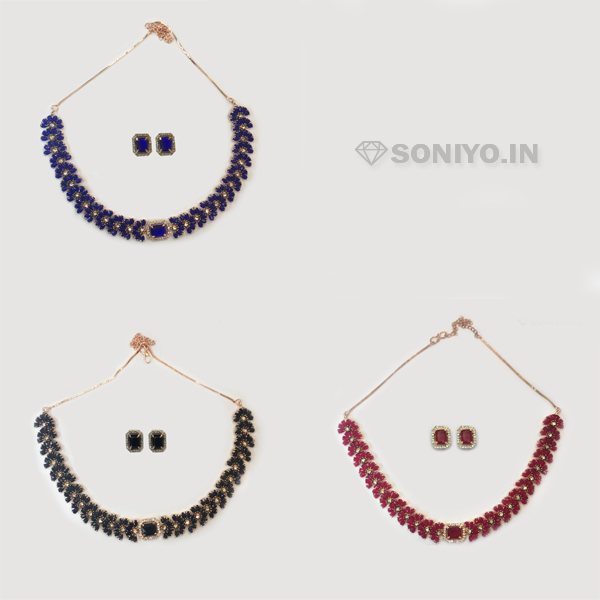 Half Flower Necklace and Earring Combo - AD