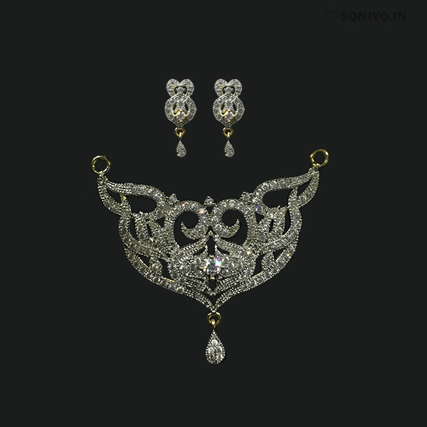 Silver Mangalsutra combo - White AD Stones