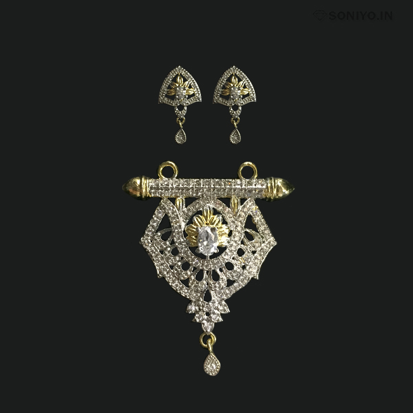 Golden and Silver Mangalsutra with White Stone in Middle - AD