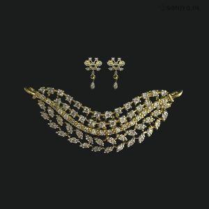 Golden Mangalsutra combo with Silver Leaves - AD