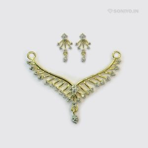 Golden Mangalsutra with White Stones - AD