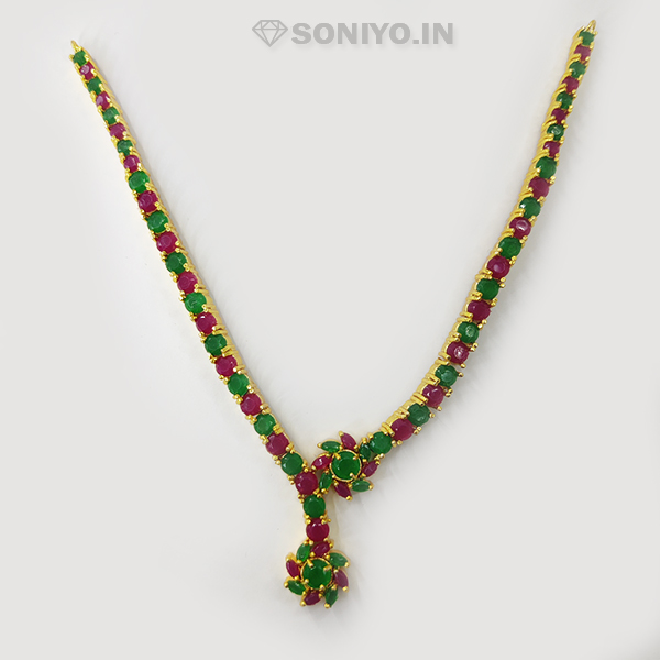 Flower covered with American Diamond Pearls Necklace Combo