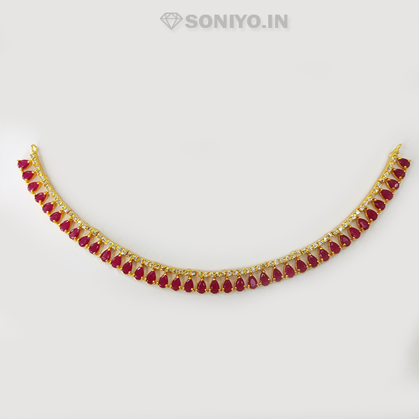 Maroon Necklace and Earring combo with Pearl - AD