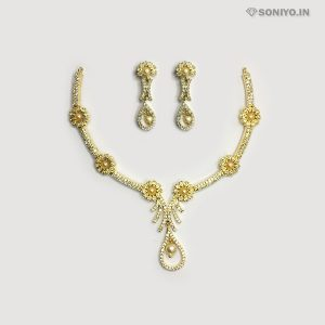Golden Flower Necklace Combo with Pearls - AD