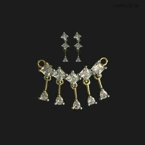 Golden Mangalsutra Combo with White AD stones