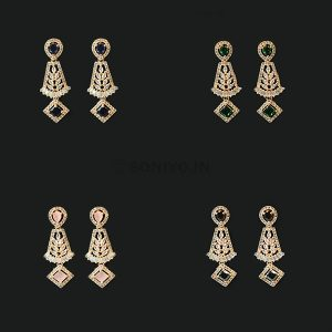 Rose Gold AD Earrings with Stone in Middle