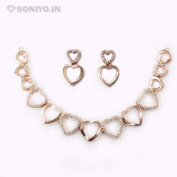 Rose Gold Heart Shaped Necklace Combo