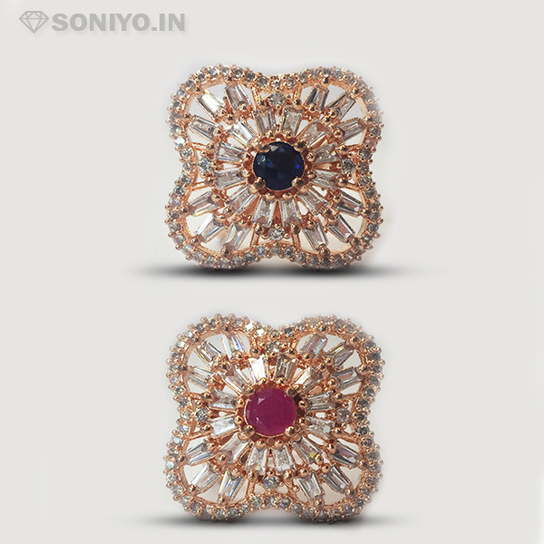 Rose Gold Ring covered with White Stones - AD