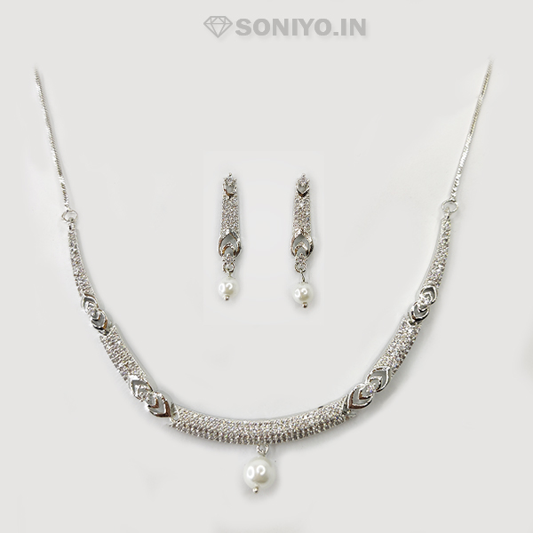 Silver Necklace Combo with White Pearl - American Diamond