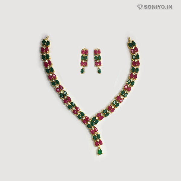 Golden Necklace Combo with Green & Red Petals - AD