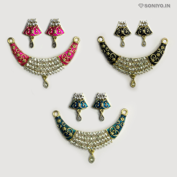 Golden Mangalsutra combo with Flowery design - AD