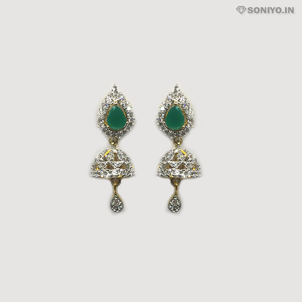 Golden and Silver Jhumka with Green Stone - AD