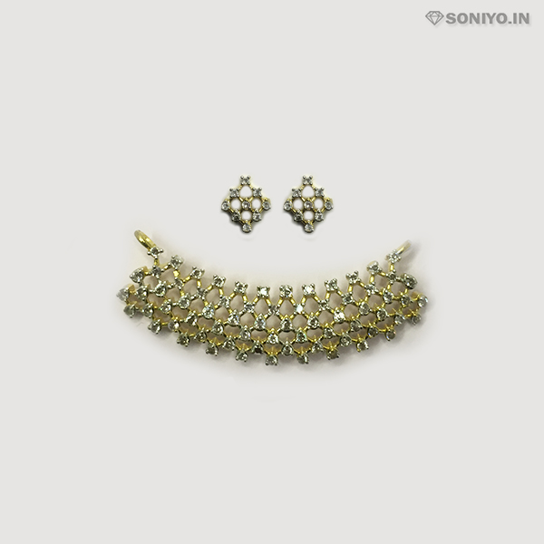 Golden Mangalsutra Combo covered with White AD stones