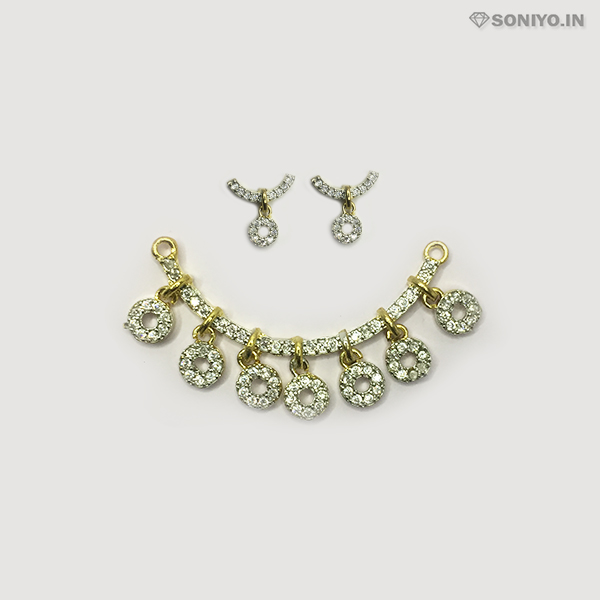 Golden Mangalsutra with Silver Circles - AD
