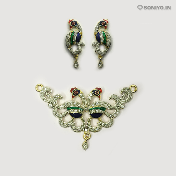 Silver Mangalsutra combo with Multicolor Peacock - AD